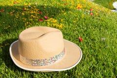 hatt på gräs lawn arkivfoto