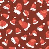 Hattar för garnering för design för parti för Xmas för kristen för nytt år för illustration för vektor för julSanta Claus hatt no Royaltyfria Bilder