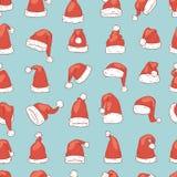 Hattar för garnering för design för parti för Xmas för kristen för nytt år för illustration för vektor för julSanta Claus hatt no Royaltyfri Fotografi