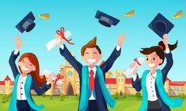 Hattar för studentkastavläggande av examen i luft royaltyfri illustrationer