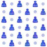 Hattar och snöflingor stock illustrationer