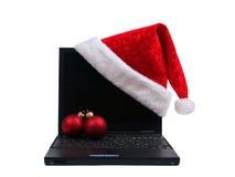 hattbärbar dator santa Royaltyfria Bilder