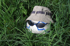 Hatted Soccer Ball with Sunglasses Stock Photo