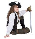 hatten piratkopierar rapierkvinnabarn Royaltyfri Fotografi