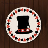 Hatter hat - drink coaster from Wonderland. On Wooden Background. Printable Vector Illustration for Graphic Projects, Parties and the Internet Stock Photography