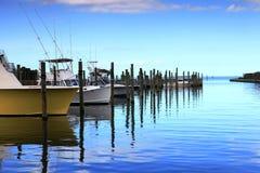 Hatteras Harbor Marina North Carolina. Boats docked in slips at the Cape Hatteras Harbor Marina in North Carolina Stock Photos