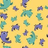 Hattern mit bunten Vögeln singen Lizenzfreie Stockfotografie