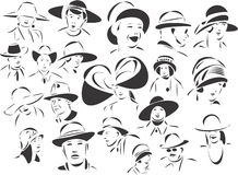 hattfolk stock illustrationer