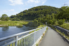 Hattingen (Niemcy) - Jechać na rowerze pas ruchu wzdłuż Rzecznego Ruhr Obraz Royalty Free