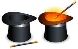 hattmagiwand vektor illustrationer