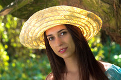 hattsugrörkvinna Arkivbilder