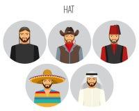Hatttyper av manaffischen med headwearvektorillustrationen vektor illustrationer