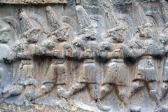 Hattusa, bas-relief with winning warriors  hittiti Stock Photography