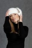 hattvinterkvinna Arkivfoton