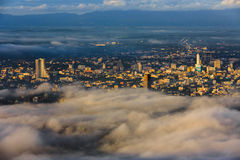 Hatyai songkhla in morning. Buildings are covered in thick layer of fog in hatyai songkhla in morning Stock Photos