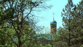 Haube der orthodoxen Kirche mitten in Bäumen stock video
