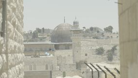 Haube des Felsens 4k stapfen alte Stadt des Tempelbergs von Jerusalem stock video