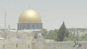 Haube des Felsens 4k stapfen alte Stadt des Tempelbergs von Jerusalem stock footage