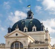 Haube mit einer nationalen akademischen Oper und einem Ballett Krushelnytska, Lemberg, Ukraine ukrainische Flagge Lembergs Lizenzfreie Stockfotografie
