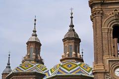 Hauben der Basilika Del Pilar Stockbild
