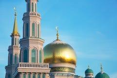 Hauben der Kathedralen-Moschee in Moskau stockbild