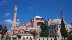 Hauben und Minaretts Hagia Sophia in der alten Stadt von Istanbul, die T?rkei, auf Sonnenuntergang lizenzfreie stockbilder