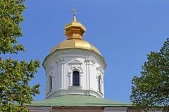 Hauben von St. Michael Cathedral von Vydubychi-Kloster, Kyiv stockfotos