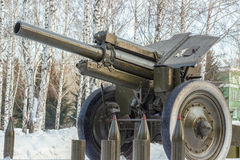 Haubits-vapen Artillerivapennärbild fotografering för bildbyråer