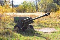 haubitze Alte Militärausrüstung Freiluftmuseum in Prerov nad Labem Stockbild