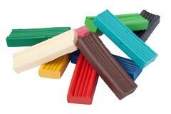 Haufen der farbigen Plasticineziegelsteine Lizenzfreie Stockfotografie