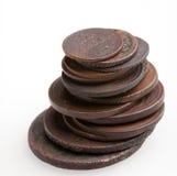 Haufen der sehr alten Kupfermünzen Stockfoto