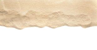 Haufen des trockenen Strandsandes auf weißer, Draufsicht stockbilder