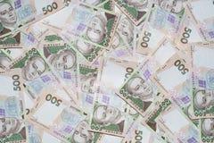 Haufen des ukrainischen Geldes. 500 uah Frontseite. Lizenzfreies Stockfoto