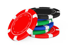Haufen von bunten Poker-Kasino-Chips Wiedergabe 3d Lizenzfreie Stockbilder