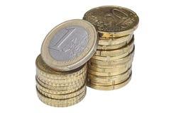 Haufen von europäischen Centmünzen Stockfotos