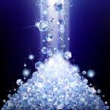 Haufen von fallenden Diamanten Stockbilder