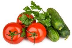 Haufen von frischen Gurken und von Tomaten mit Petersilie auf Weiß Stockbilder