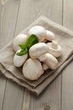 Haufen von frischen weißen Pilzen auf Sackstoff vorbei Lizenzfreies Stockbild