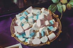 Haufen von geschlossen herauf Pastell farbige Eibische Bunte Eibischsüßigkeit in der Schüssel Weiße und blaue Eibische lizenzfreie stockfotografie
