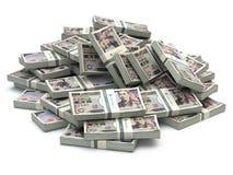Haufen von japanischen Yen verpacken Geld auf Weiß Lizenzfreies Stockbild