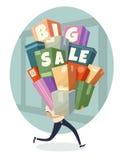 Haufen von Kästen mit großem Verkaufstext Lizenzfreie Stockfotografie