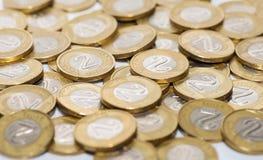Haufen von Münzen, polnische Währung Stockbilder