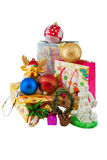 Haufen von Weihnachtendecoratins Lizenzfreie Stockfotos