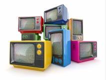 Haufen von Weinlesefernsehapparat. Ende des Fernsehens lizenzfreie abbildung