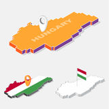 Haugary flag on map element with 3D isometric shape isolated on background Stock Photos