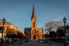 Haugesund, Norwegen - 9. Januar 2018: Die Kirche im Stadt, Var-frelsers kirke oder in unserer Retter-Kirche lizenzfreie stockbilder