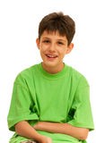 Haughty boy. A haughty boy; isolated on the white background Stock Photography