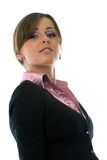 Haughty business woman. In black jacket and pink shirt in isolated on white Royalty Free Stock Photos