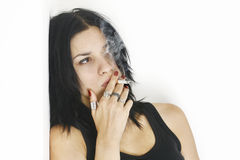 Haughty Girl Smoking Cigarette Stock Photography