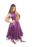 Haughty girl in violet dress. Haughty girl in violet evening dress isolated on white Royalty Free Stock Photo